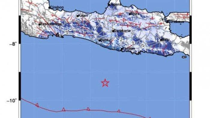 Gempa 5.1 SR Terjadi di Barat Daya Pacitan pada Rabu Dinihari