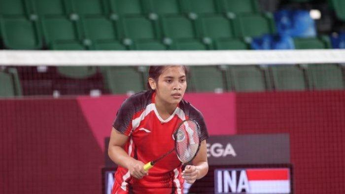 Pebulu tangkis tunggal putri Indonesia, Gregoria Mariska Tunjung, pada babak penyisihan pertama di Musashino Forest Sport Plaza, Minggu (25/7/2021).