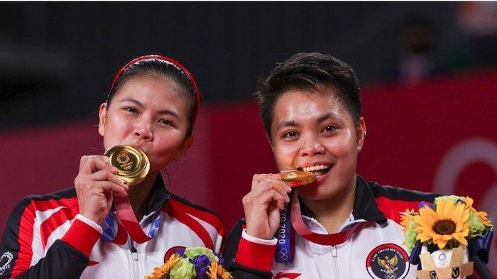 Pasangan ganda putri Indonesia, Greysia Polii/Apriyani Rahayu, meraih medali emas Olimpiade Tokyo 2020