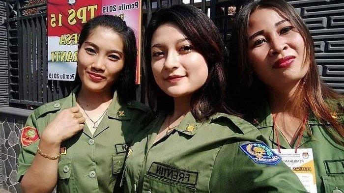 Yang Lagi Viral, Hansip-hansip Cantik di TPS Ini Bikin Pemilih Ogah Golput?