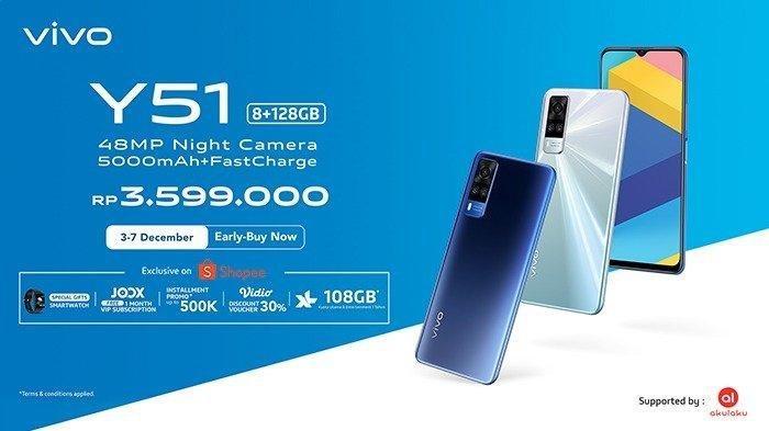 Harga dan spesifikasi Vivo Y51 di Indonesia seharga Rp3.599 juta.