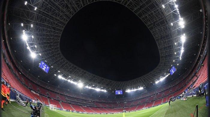 Stadion Puskas Arena di Budapest pada Rabu 17 Februari 2021. Lokasi pertandingan Liga Champions Leipzig vs Liverpool