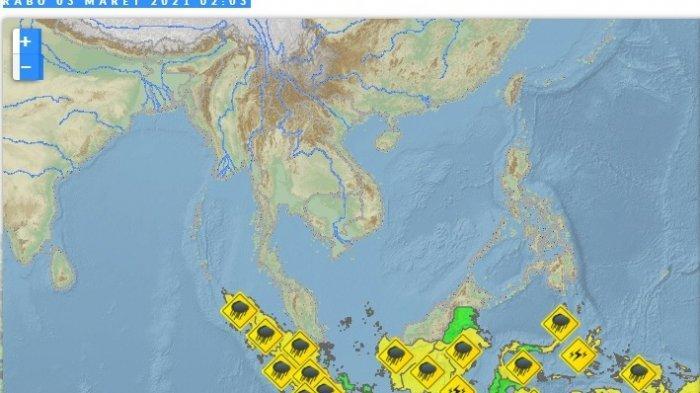 Info Cuaca BMKG Rabu 3 Maret 2021, Hari Ini 23 Provinsi Diguyur Hujan Lebat, Berikut Daftarnya