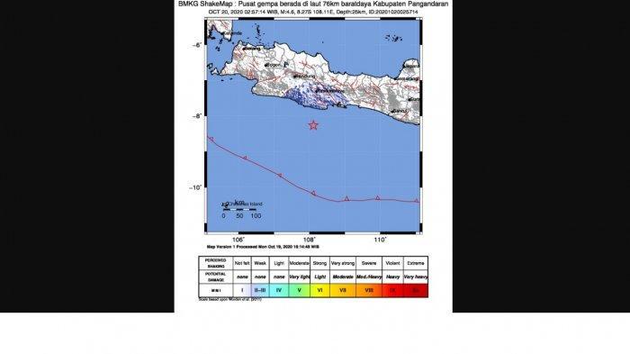 Peta guncangan gempa Pangandara, pada Selasa 20 Oktober 2020 dini hari