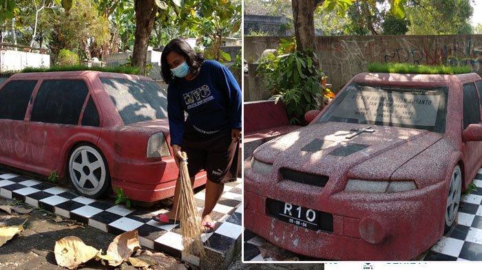 Nisan unik berbentuk mobil di Pemakaman Gunung Sempu, Bangunjiwo, Kasihan, Bantul, Minggu (13/06/2021).