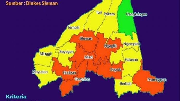 Inilah Zona Hijau, Kuning, Oranye Covid-19 Wilayah Sleman, Tak Ada Zona Merah