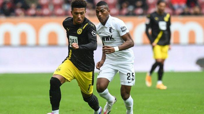 Reaksi gelandang Inggris Dortmund Jadon Sancho saat pertandingan sepak bola divisi pertama Bundesliga Jerman FC Augsburg v BVB Borussia Dortmund pada 26 September 2020 di Augsburg, Jerman selatan.