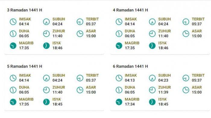 Jadwal Imsakiyah Yogyakarta dan Sekitarnya Bulan Ramadhan 1441 H Hari Selasa 28 April 2020