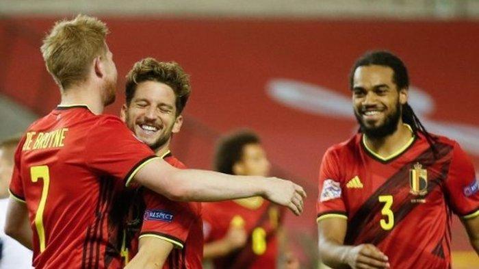 Skuad timnas Belgia saat merayakan gol ke gawang Islandia pada matchday kedua UEFA Nations League, 8 September 2020.