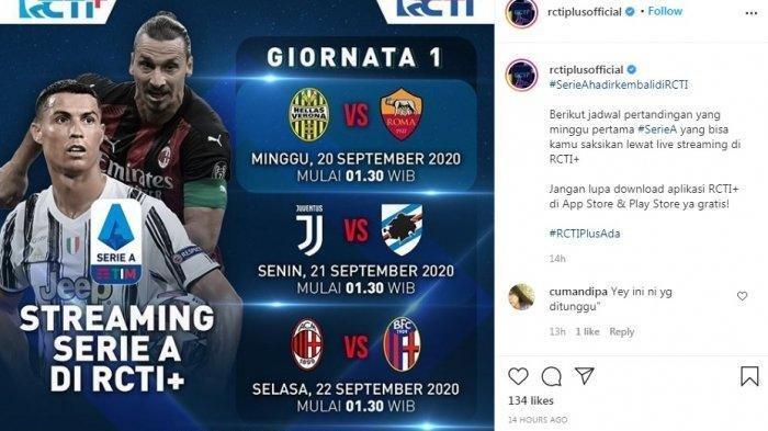 Jadwal Liga Italia Musim 2020/2021 Pekan Pertama di RCTI Plus, AC Milan vs Bologna