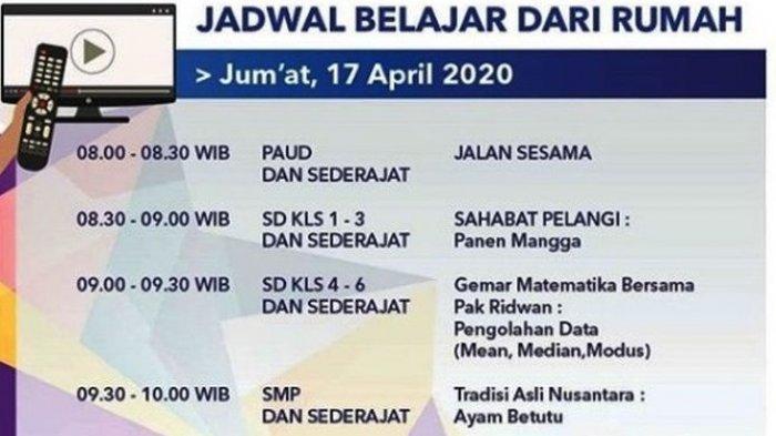 Jadwal Siaran dan LINK Live Streaming TVRI Program Belajar dari Rumah Jumat 17 April 2020