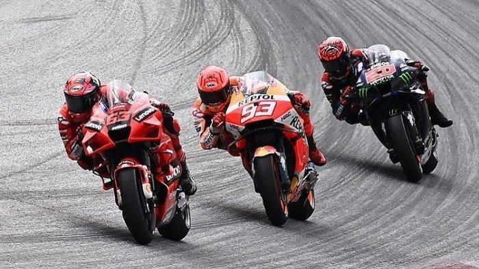 Jadwal MotoGP Aragon - Foto dok. Marc Marquez dan Francesco Bagnaia serta Fabio Quartararo saat balapan MotoGP Austria 2021.