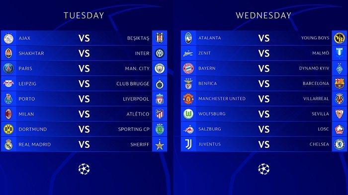 Jadwal Siaran Langsung Matchday2 Fase Grup Liga Champions di Channel TV SCTV Vidio