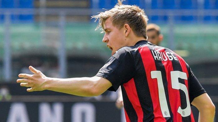 Jens Petter Hauge selebrasi di Liga Italia Serie A AC Milan vs Sampdoria pada 3 April 2021 di stadion San Siro di Milan.