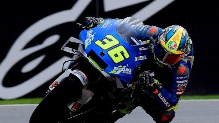 Joan Mir saat berlaga di MotoGP Eropa.