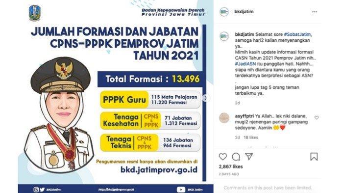 Daftar Formasi CPNS/PPPK 2021 di Jawa Timur, Siapkan Berkas dan Tunggu Tanggal Pendaftaran
