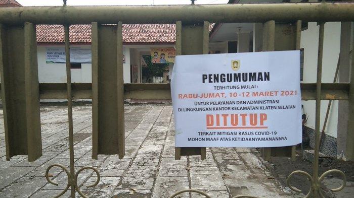 ASN Terpapar Covid-19, Pelayanan Administrasi di Kantor Kecamatan Klaten Selatan Ditutup 3 Hari