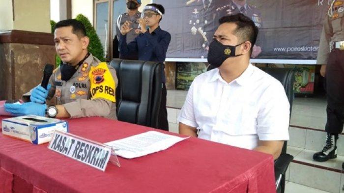 Kapolres Klaten, AKBP Edy Suranta Sitepu (kiri), saat memimpin jumpa pers kasus mobil viral di Mapolres Klaten, Senin (10/5/2021).