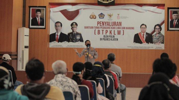 Sebanyak 3.500 PKL dan Warung Terdampak Covid-19 Mendapat Bantuan Tunai dari Polres Klaten