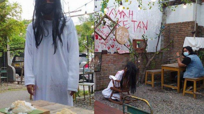 Warkop Ketan di Surabaya menghadirkan suasana horor lengkap dengan sejumlah replika hantu.