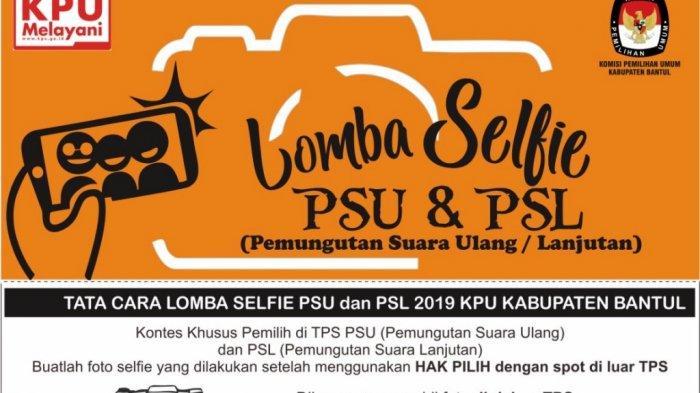 Ajak Warga Gunakan Hak Pilih, KPU Bantul Gelar Lomba Selfie pada PSU dan PSL