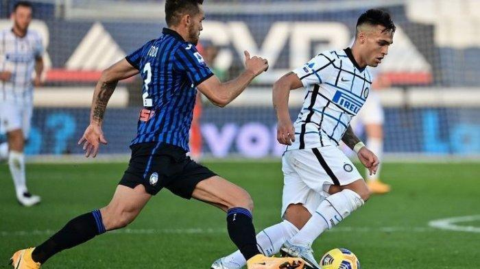 Lautaro Martinez saat Atalanta vs Inter Milan di Stadion Gewiss, Minggu (8/11/2020)