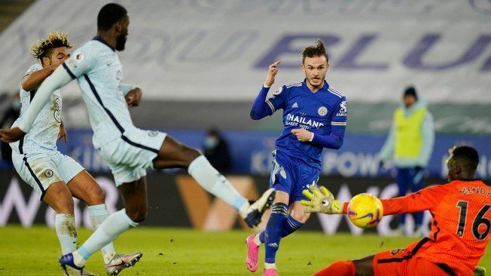 eicester City ke puncak Liga Premier dalam kemenangan pertama Brendan Rodgers dalam karirnya melawan Chelsea, Rabu (20/1/2021)