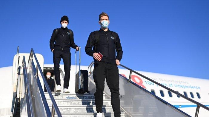 Para pemain RB Leipzig mendarat di Hungaria jelang laga kontra Liverpool.
