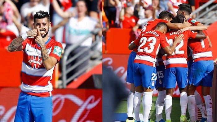 Alvaro Vadillo Gelandang Granda (kiri)   Pemain Granada merayakan gol yang dicetak Alvaro Vadillo