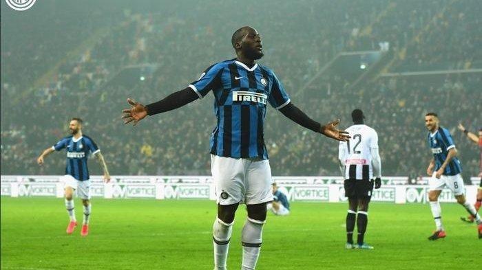 Romelu Lukaku usai menjebol gawang Udinese pada pertandingan pekan ke-25, Minggu (2/2/2020).
