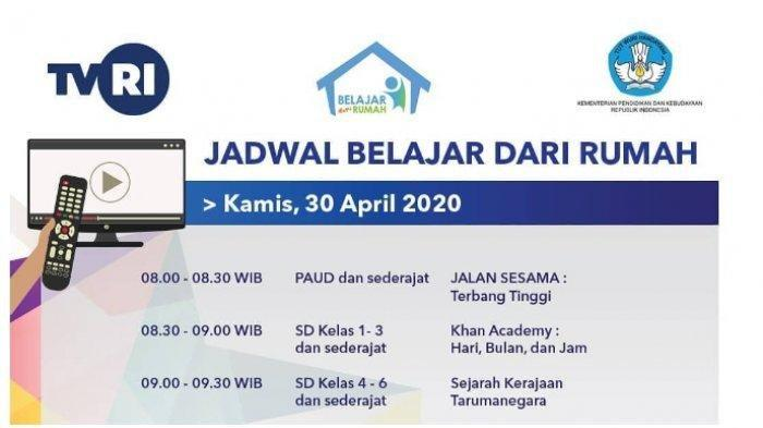 Live Streaming TVRI & Jadwal Tayang Program Belajar dari Rumah Kamis 30 April 2020, LINK di SINI