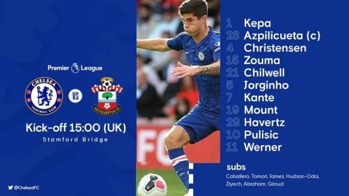 LINK Siaran Langsung NET TV & Live Streaming Mola Tv CHELSEA vs SOUTHAMPTON - Starting XI / Line Up