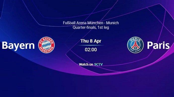 LIVE Pertandingan Liga Champions Hari Ini BAYERN MUNCHEN vs PSG di Tv Streaming SCTV Vidio