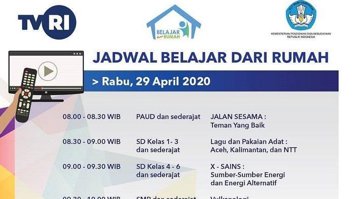 Live Streaming TVRI & Jadwal Tayang TV Belajar dari Rumah Edisi Rabu 29 April 2020, LINK di SINI