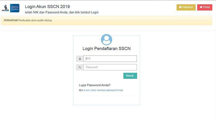 Laman Login Akun SSCN 2019