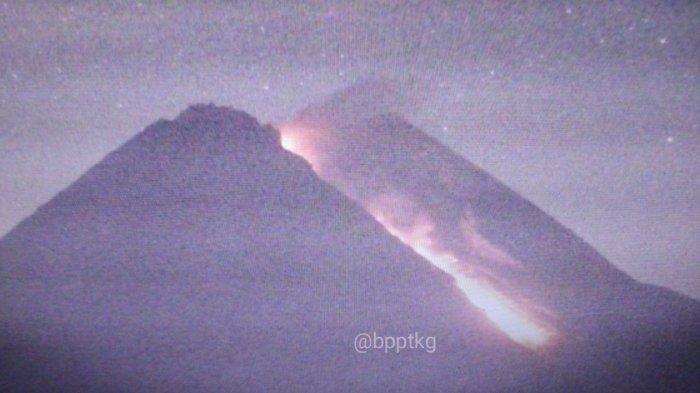Semalam, Gunung Merapi Kembali Luncurkan Lava Pijar ke Kali Gendol, Jarak Luncur Maksimal 450 Meter