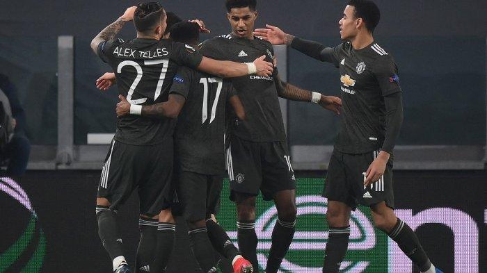 Marcus Rashford dan Mason Greenwood di babak 32 besar Liga Eropa UEFA Real Sociedad vs Manchester United di stadion Juventus di Turin pada 18 Februari 2021.