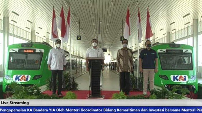 Tangkapan layar akun YouTube Ditjen Perkeretaapian acara soft opening pengoperasian KA Bandara YIA, Temon, Kulon Progo, Jumat (27/8/2021).