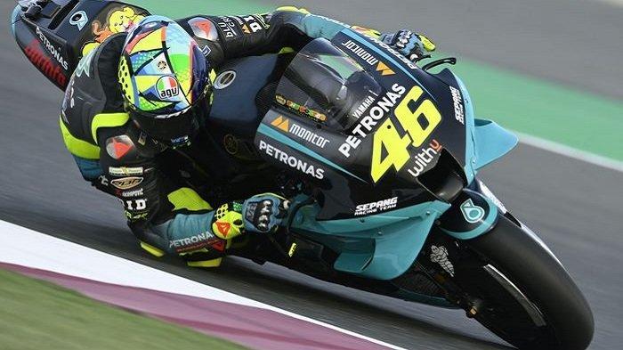 Valentino Rossi saat tampil pada tes pramusim MotoGP 2021 di Sirkuit Losail, Doha, Qatar, 10 Maret 2021.