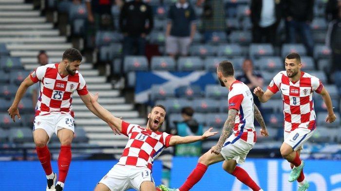 Selebrasi pemain Kroasia, Nicola Vlasic usai mencetak gol di ajang Euro 2020 lalu.