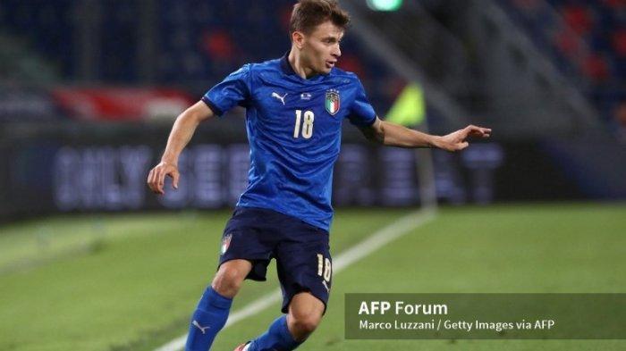 Nicolo Barella di laga persahabatan Italia vs Republik Ceko 4 Juni 2021 di Bologna, Italia.