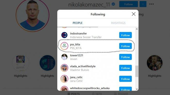 Komazec mengikuti akun Instagram @pss_kita.