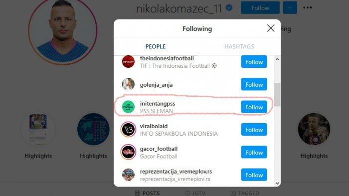 Komazec mengikuti akun Instagram @initentangpss.