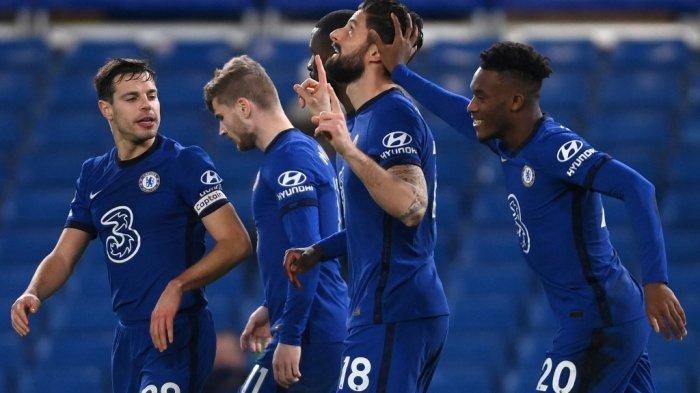 Olivier Giroud, Cesar Azpilicueta, Timo Werner dan Callum Hudson-Odoi di Liga Inggris Chelsea vs Newcastle United di Stamford Bridge di London pada 15 Februari 2021.