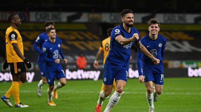 Olivier Giroud setelah mencetak gol saat Wolves vs Chelsea di Liga Inggris
