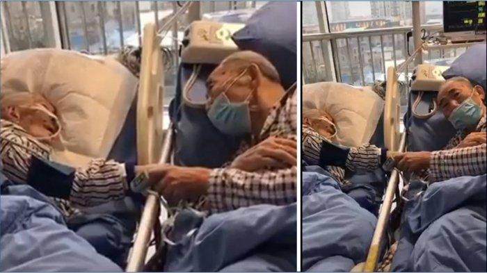 Viral Video Mengharukan Pasangan Lansia Pasien Terkena Virus Corona Saling Berpegangan Tangan di ICU