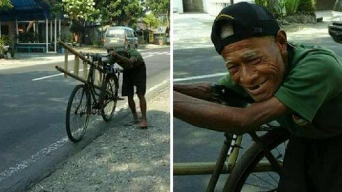 Jadi Inspirasi Anak Muda, Meski Sudah Tua Pria Ini Tetap Semangat Jualan Tangga Bambu Keliling