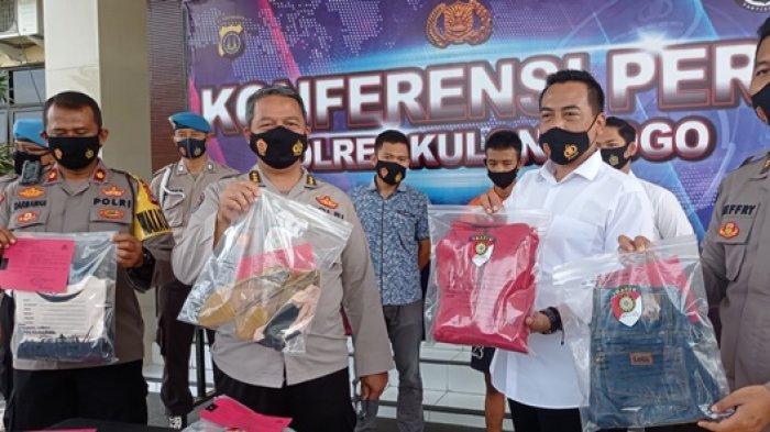 Pelaku kasus pembunuhan dan barang bukti dihadirkan dalam jumpa pers di Mapolres Kulon Progo.