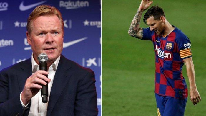 Pelatih Ronald Koeman dan kapten tim Barcelona Lionel Messi