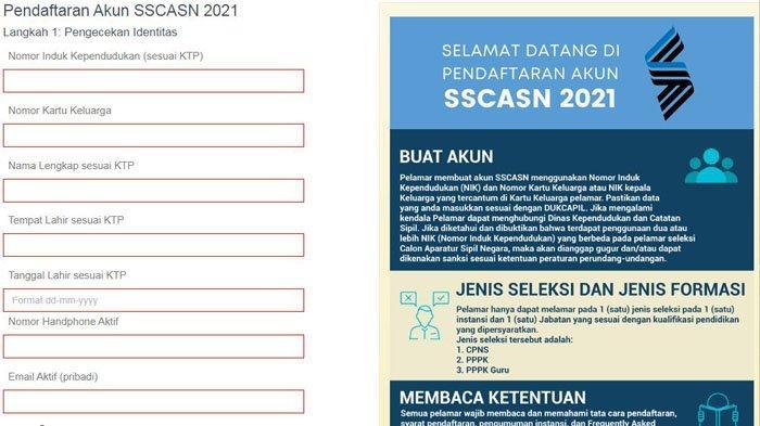 Pendaftaran Akun SSCASN 2021 di Daftar-sscasn.bkn.go.id, Siapkan NIK KTP